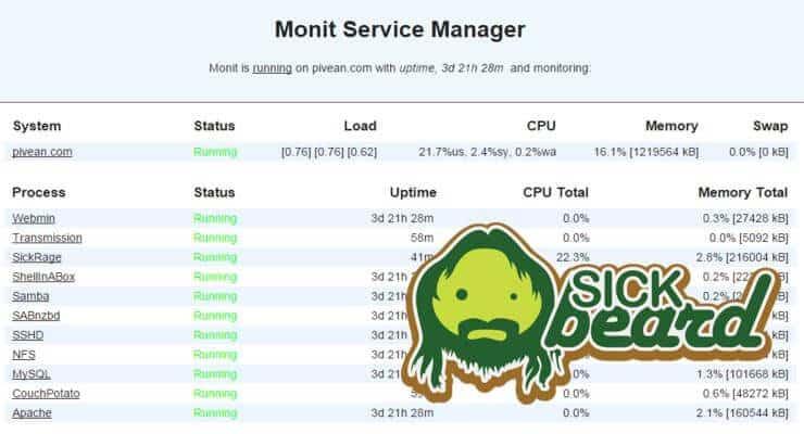 Monit: контролировать состояние процесса SickBeard