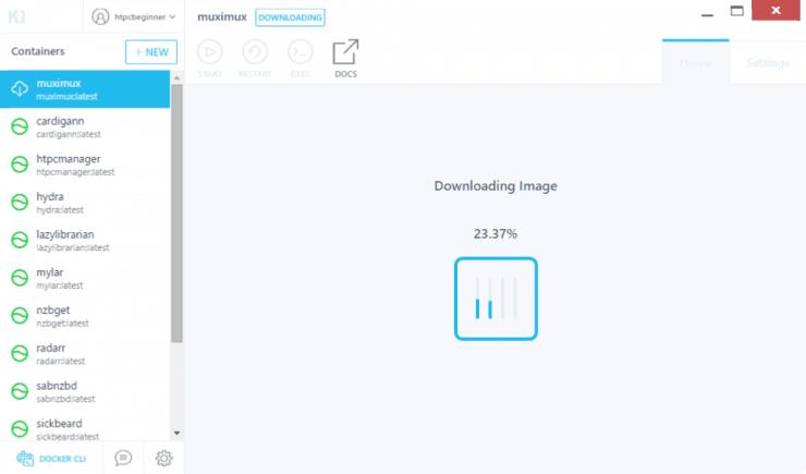 Как установить Muximux на Docker с использованием графического интерфейса Kitematic?