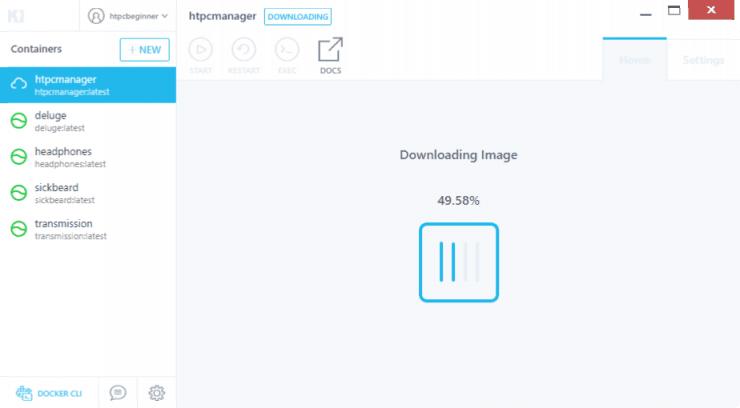 Как установить HTPC Manager на Docker с использованием графического интерфейса Kitematic?