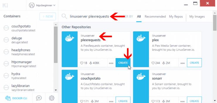 Как установить Plex Requests на Docker, используя Kitematic GUI?