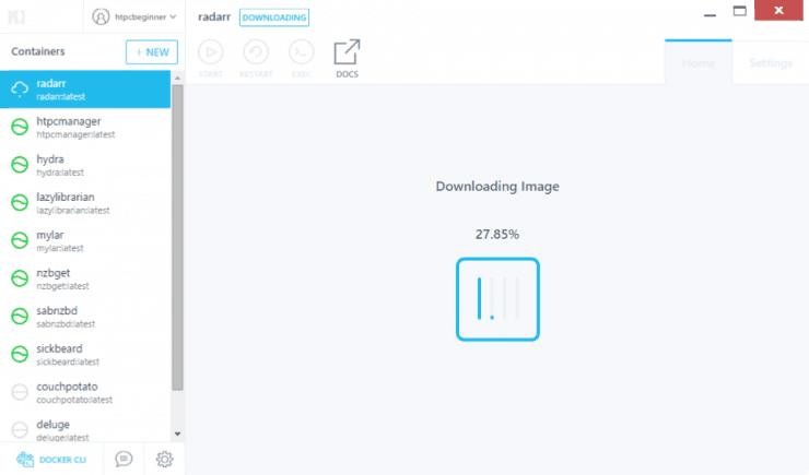 Как установить Radarr на Docker с использованием графического интерфейса Kitematic?