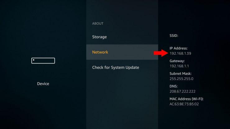 Как найти IP-адрес Amazon Fire TV