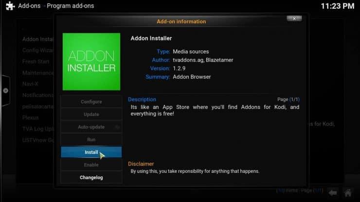 Установите Kodi Addon Installer из репозитория Fusion (метод 2)