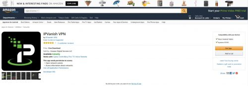 IPVanish VPN на Fire TV: IPVanish доступен в магазине приложений Amazon