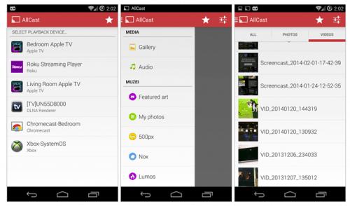 Потоковая передача мультимедиа с устройства Android на телевизор с помощью AllCast