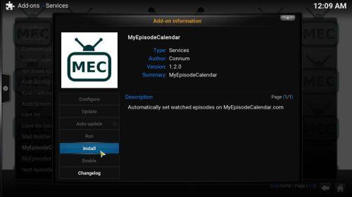 Руководство: Как установить Kodi MyEpisodeCalendar Addon
