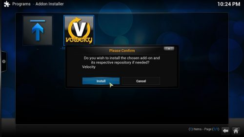 Руководство: Как установить аддон Kodi Velocity