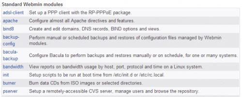 Как установить модули Webmin для добавления новых функций?