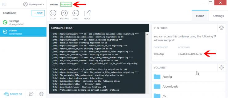 Как установить Sonarr на Docker с использованием графического интерфейса Kitematic?