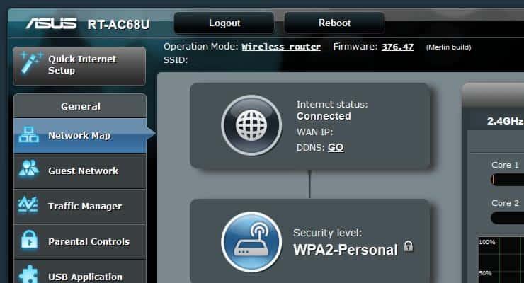Автоматическая перезагрузка маршрутизатора Asus Wireless N и AC